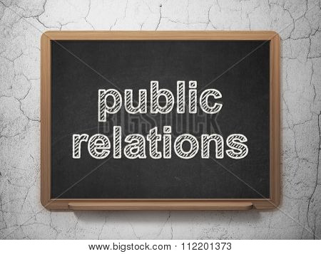 Marketing concept: Public Relations on chalkboard background