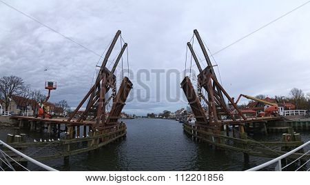 Panoramic Shot Of The Historical Bascule Bridge In Wieck (greifswald), Mecklenburg-vorpommern, Germa
