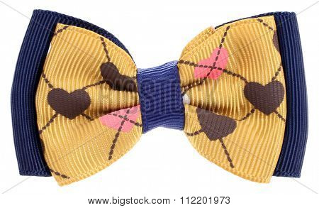 Hair bow tie yellow with colorful hearts of  love