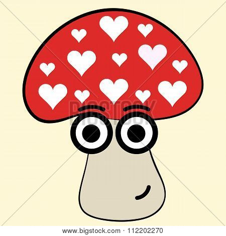 Fly agaric with hearts