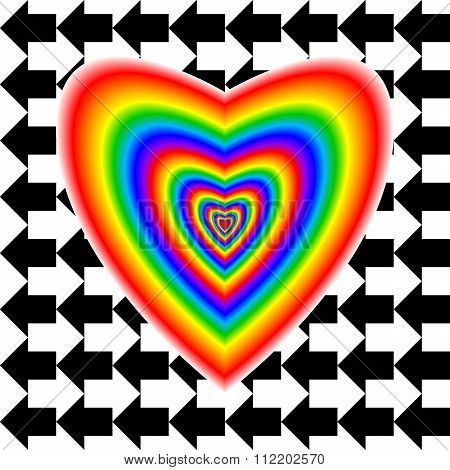 Big Heart In Rainbow Colors And Arrows