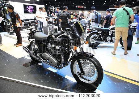 Bangkok - December 11 : Triumph Thruxton 900  Motorcycle On Display At The Motor Expo 2015 On Decemb