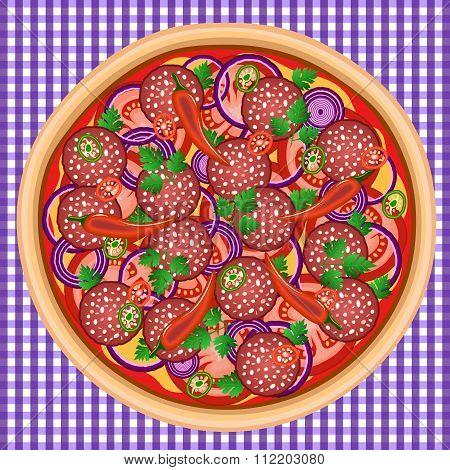 Pizza Onion Chili Salami