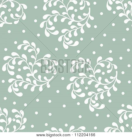 Seamless Abstract Pattern Of White Twigs On Blue Background