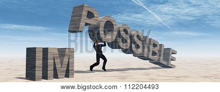 Concept conceptual 3D business man lifting an abstract stone impossible text on sky background metaphor to success, career, work, job, achievement, development, growth, progress, vision, possible
