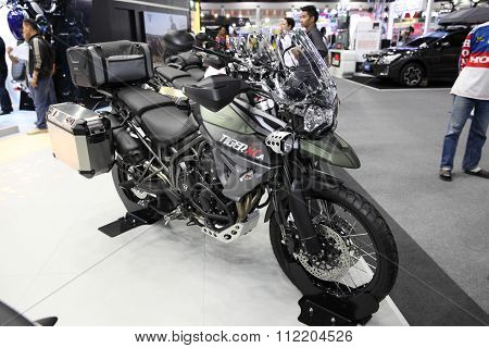 Bangkok - December 11 : Triumph Tiger Xca Motorcycle On Display At The Motor Expo 2015 On December 1