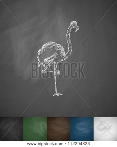 flamingo icon. Hand drawn vector illustration