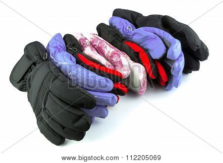 Collection Of Multicolor Ski Gloves Varied In Size