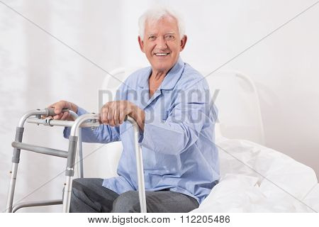 Hospital Patient With A Walking Frame