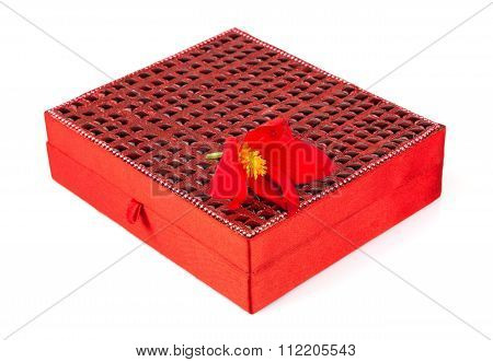 Bright Simple Red Box For Make-up, Jewelry, Decorations With Beautiful Flower