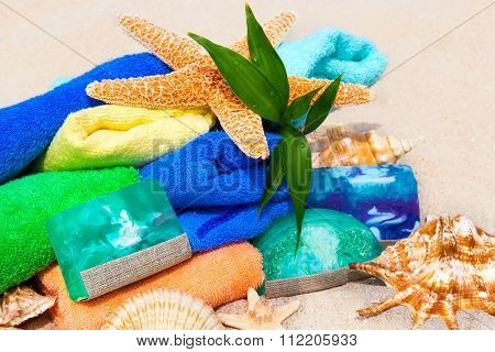Spa Beauty Concept With Towels, Soap, Shells And Green Fresh Plant Bamboo