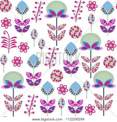 Cute Retro Floral  Seamless Pattern With Odd Flowers  And  Seamless Pattern In Swatch Menu, Vector I
