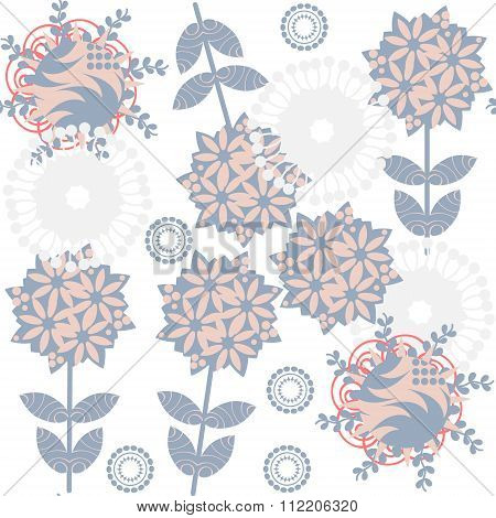 Cute Retro Gentle Floral  Seamless Pattern With Odd Flowers  And  Seamless Pattern In Swatch Menu, V