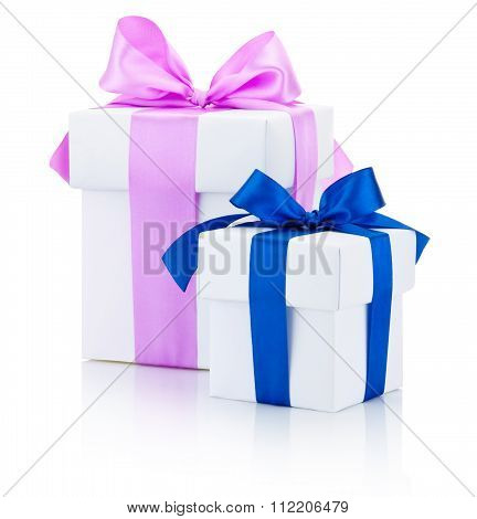 Two White Gift Boxes Tied Pink And Blue Ribbons Bow Isolated On White Background
