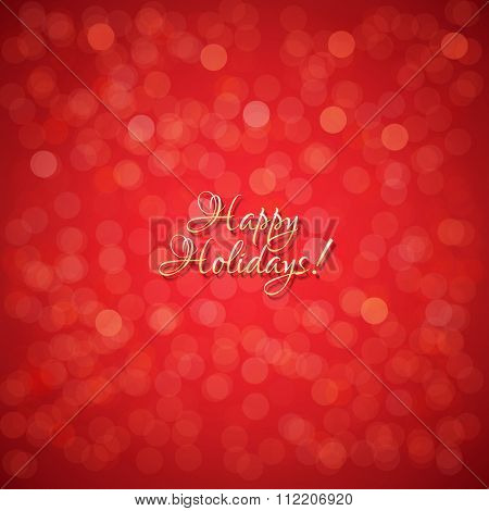 Red Holidays Background With Gradient Mesh, Vector Illustration