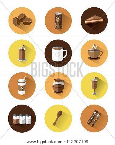 Modern flat icons set of Coffee