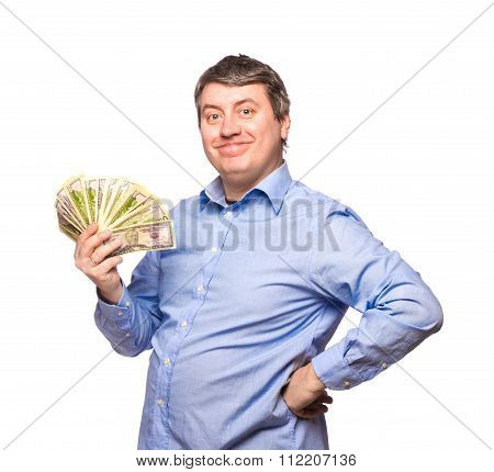 Smiling Man In A Blue Shirt With Money Dollars