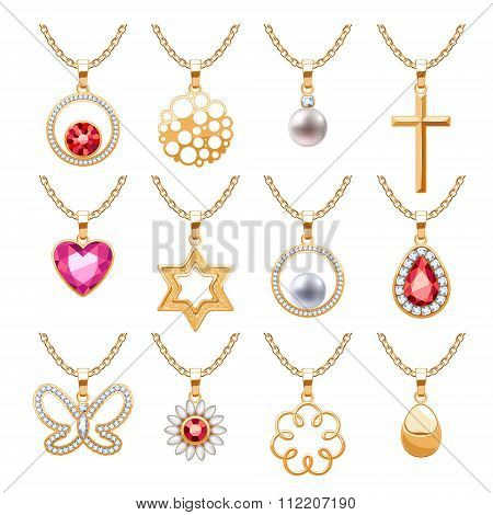 Elegant gemstones vector jewelry pendants set.