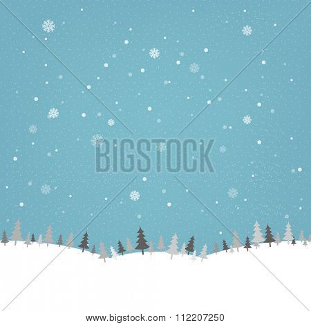 Vintage Winter Poster With Gradient Mesh, Vector Illustration