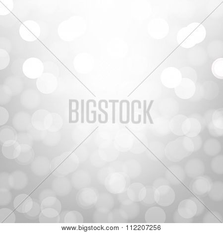 Silver Background With Bokeh With Gradient Mesh, Vector Illustration