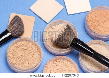 Different Shades Of Loose And Compact Cosmetic Powder