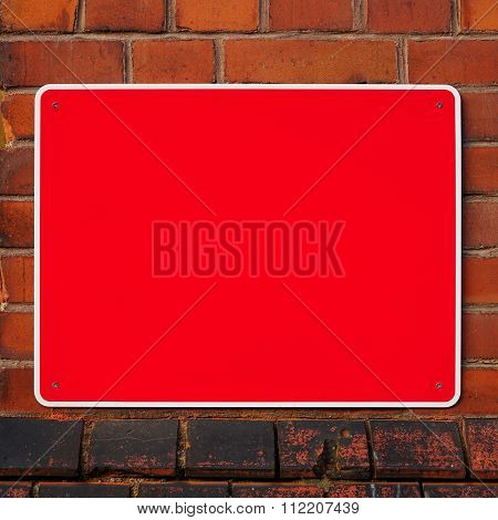 Empty red sign
