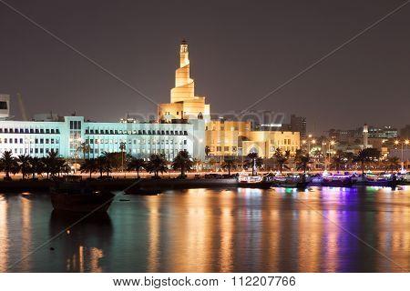 Doha Corniche At Night, Qatar