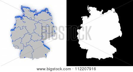 Germany 3D map with shadow.. Alpha channel