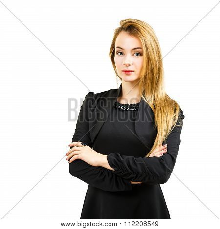Elegant Business Woman in Black Dress Isolated on White