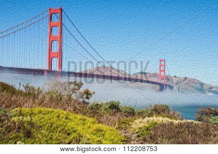 Oil Painting Showing Famous Golden Gate Bridge, San Francisco