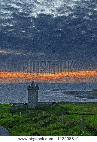 Beautiful Ancient Irish Celtic Castle Landscape Pic