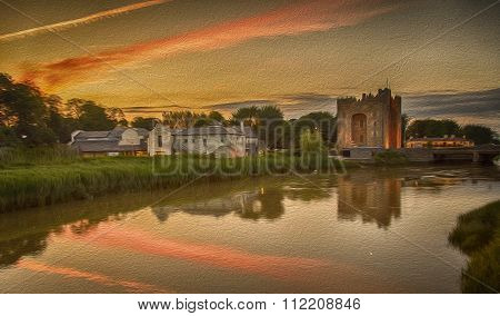 Oil Painting Of A Castle By The Sea With A Sunset