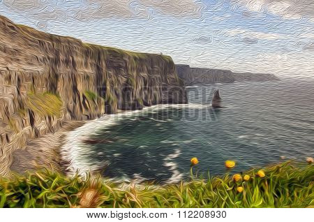 Oil Painting Showing Walking Trail By Sea Cliffs And Ocean