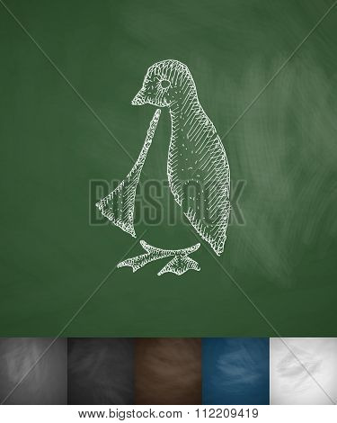 penguin icon. Hand drawn vector illustration