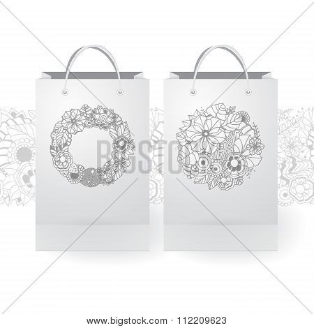 Set Of Stock Vector Isolated Paper Shopping Bag On The White Background With Floral Ornament