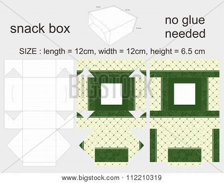 Green Snack Box 12 x 12 x 6,5 cm