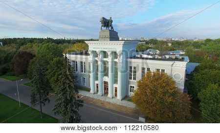 MOSCOW - SEP 22, 2015: Pavilion of meat industry in Exhibition of National Achievements at autumn sunny day. Aerial view videoframe