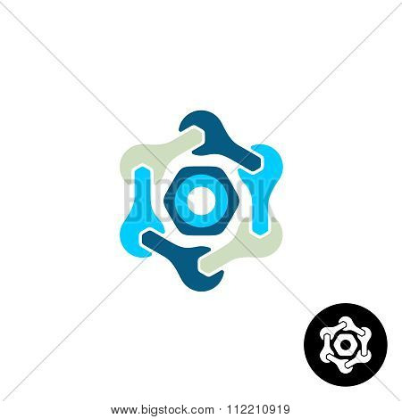 Tech Logo With Wrenches And Nut