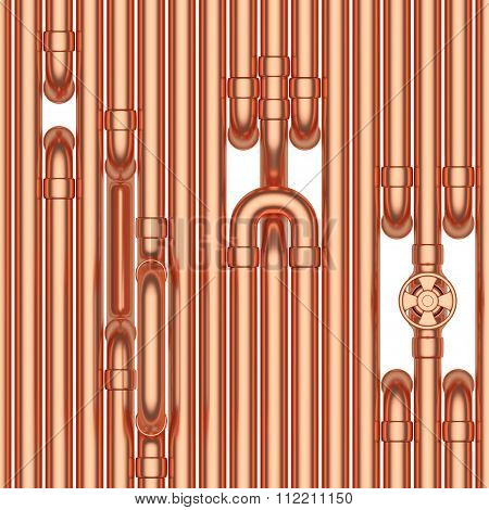 Copper Pipes Construction, Seamless Background