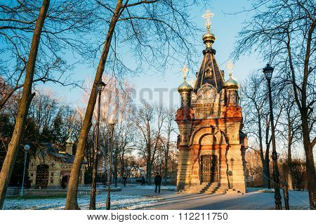Chapel-tomb of Paskevich in city park in Gomel, Belarus.