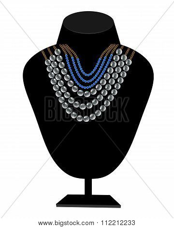 Necklaces Of Pearls And Blue Stones