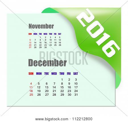 December 2016 calendar with past month series