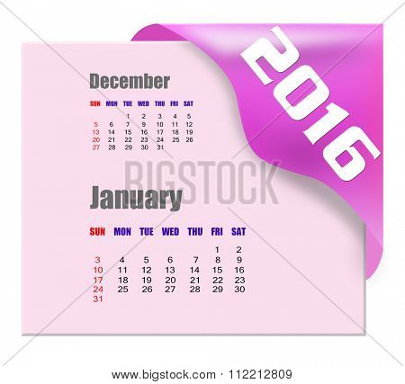 January 2016 calendar with past month series