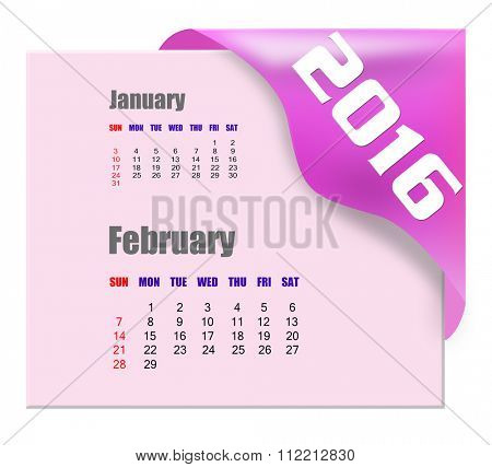 February 2016 calendar with past month series