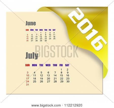 July 2016 calendar with past month series