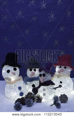 Xmas Decorations Crafts Snow Scenary, Illuminated Snowmen