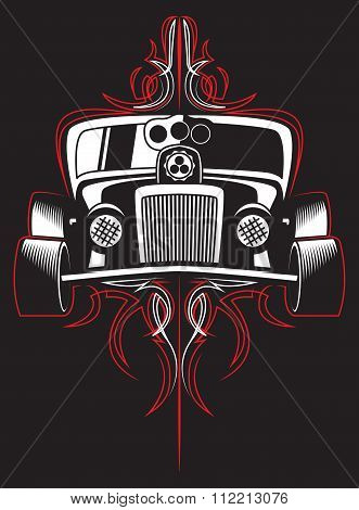 Hot rod. Retro car. pinstripes. vector