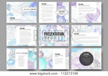 Set of 9 templates for presentation slides. Hand drawn floral doodle pattern, abstract vector backgr