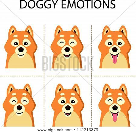 Vector illustration of cute Siba-inu dog.