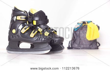Ice Skates And Backpack